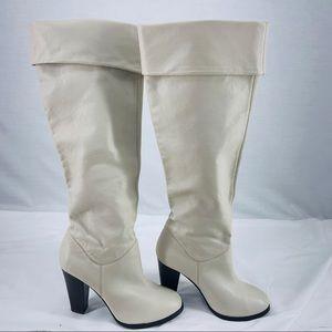 Colin Stuart Knee High Cream Leather Boot 8.5